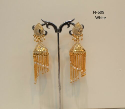 New Indian Pakistani Bollywood Gold Dangle Jhumka Earrings Jhumki Jewellery wome