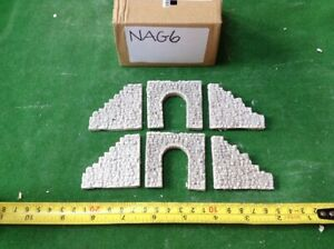 2x Single Tunnel And Side Walls -compact Style- -n Scale Gauge- Painted