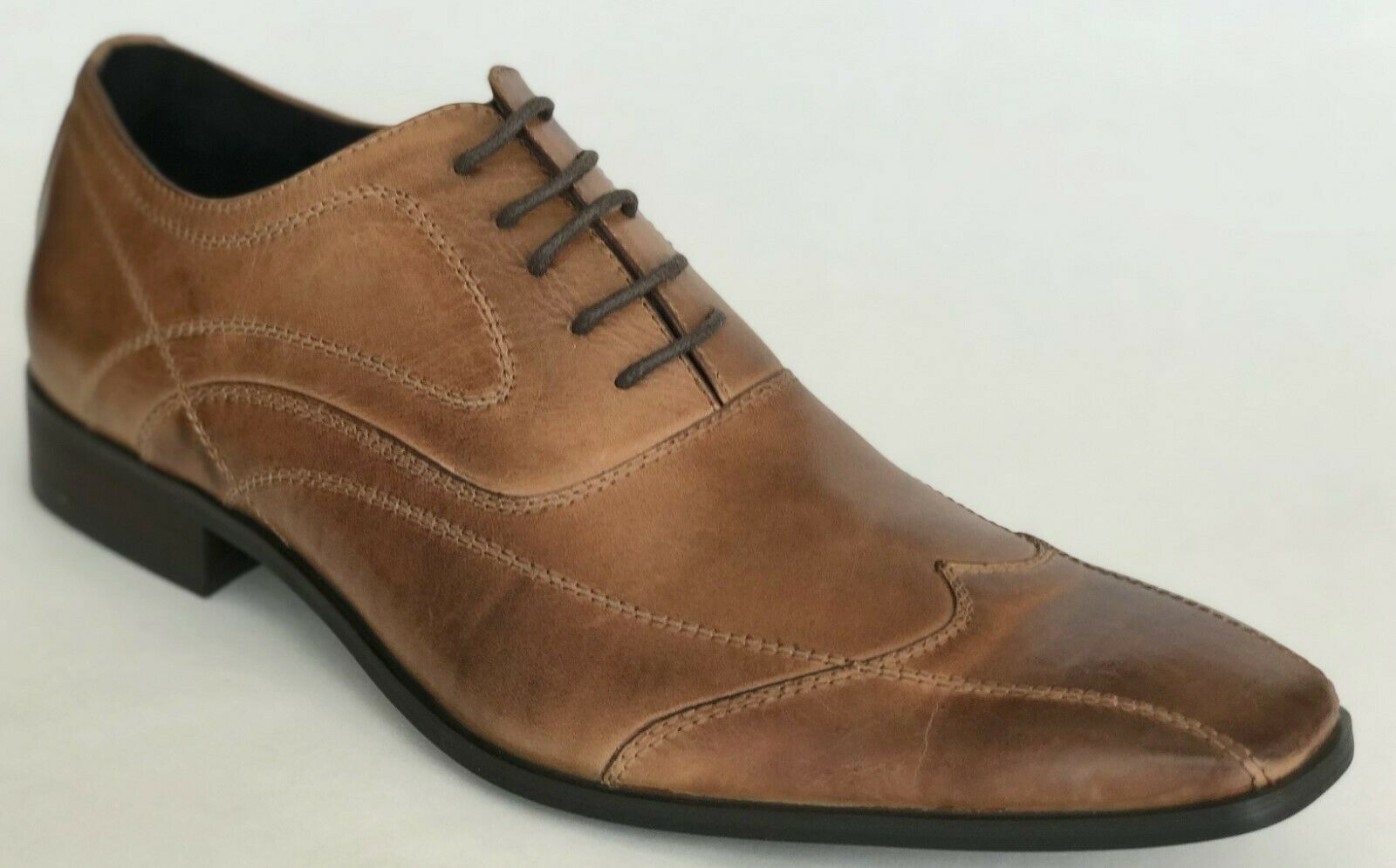 Kennet Cole Mens Make It Last Tan Leather Oxford Dress Shoes 8.5 NEW IN BOX