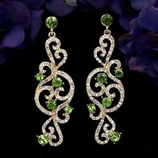 18K Gold Plated GP Green Crystal Rhinestone Drop Dangle Earrings 07849 New