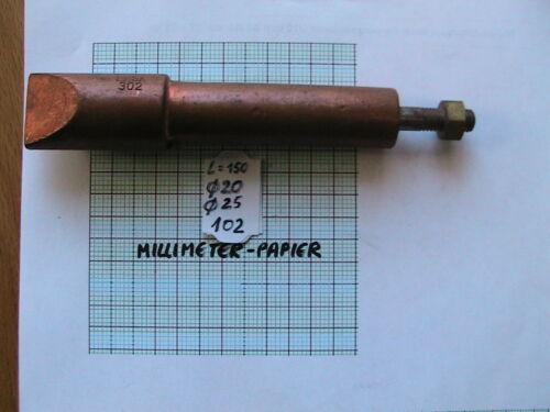 LÖTSPITZE  KUPFER m.M8 ~ D25+D20mm x 150mm ERSA 302 VOLL-MATERIAL Art 103  23557