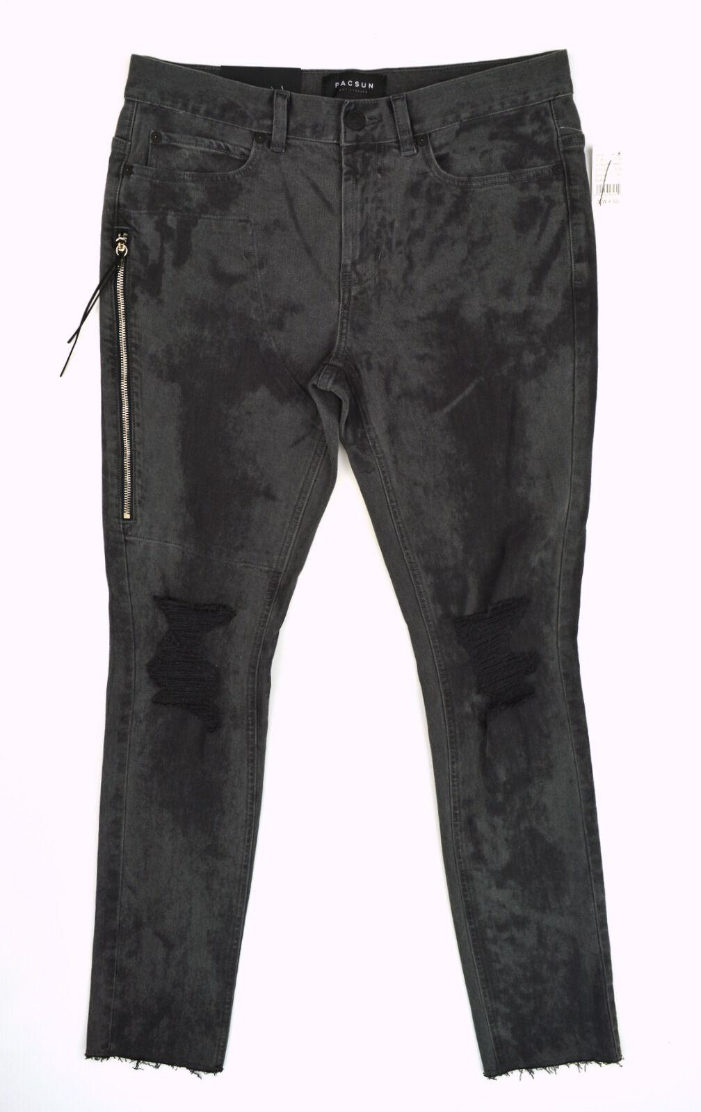 Nwt Pacsun Herren Gestapelt Skinny Grau Schwarz Zerschnitten Knie Roh  | Vielfalt  | Produktqualität  | Schön