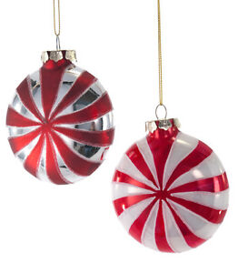 Details About Peppermint Candy Christmas Glass Ornaments Kids Katherine S Collection 18 649054