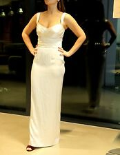BNWT DOLCE & GABBANA Satin Silk Long Gown Dress in Champagne Pearl IT40 RRP£3150