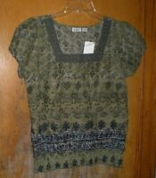 Cato Green Print Top Size Small W/ Lace Around Neckline With Tags