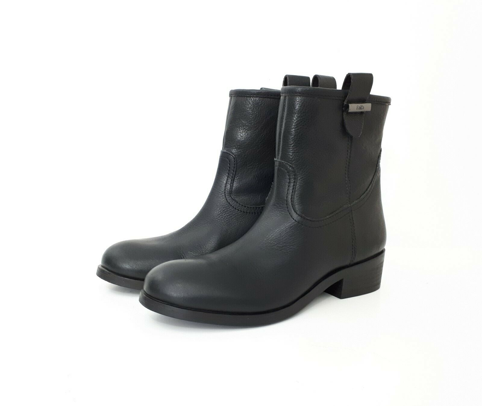 FAITH Black Genuine Leather Ankle Pull On Low Heel Boots 5 EU 38