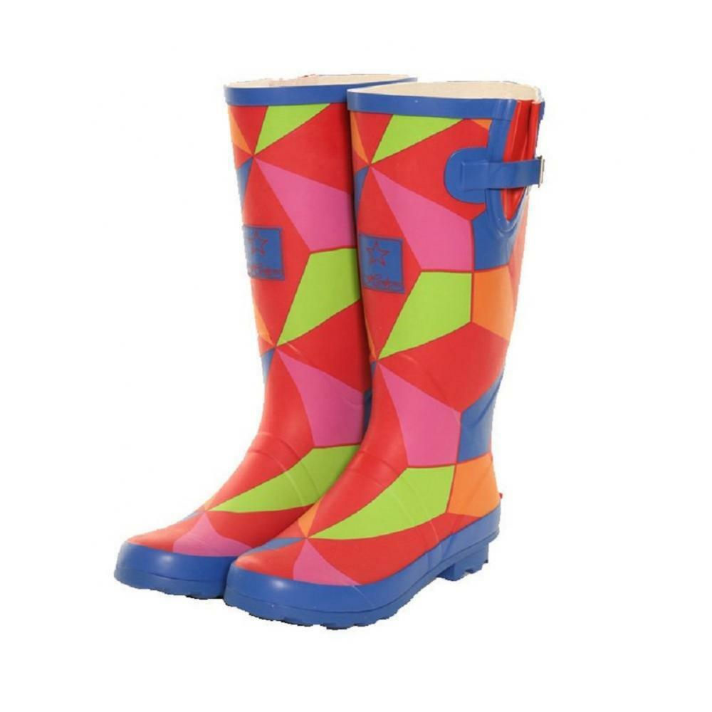 Ladies Girls Festival Fashion Funky Rainbow Wellies Wellington Boots Sizes 4-8