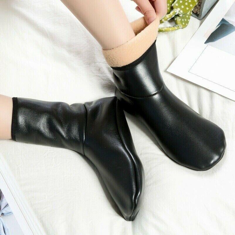 2 Paar Damen Kunstleder Socken Hausschuhe Heim Soft-Soled Schuhe Stiefel Schwarz