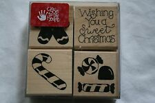 Lot of boxed wooden rubber stamps holidays sayings candy cane  scrapbooking