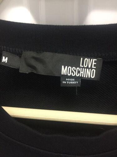 Spiaggia Cotone Truppe Taglie Grafico M Felpa Love Media Moschino In Nero Logo tqn4E8H