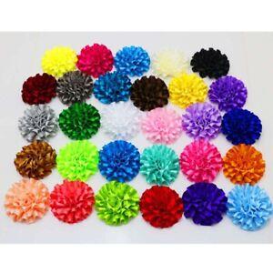 10Pcs-Satin-ribbon-big-Peony-Carnation-Flower-Appliques-craft-Wedding-decoration