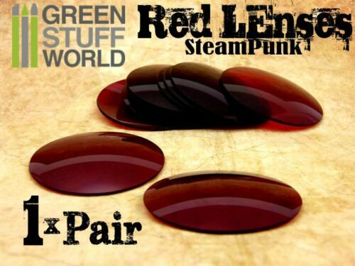 1x pair LENSES for Steampunk Goggles Vintage Retro Victorian Color RED