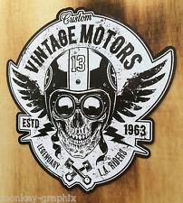 Oldschool Sticker Vintage Motors Skull Biker Bobber Aufkleber Harley Chopper USA