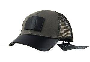 b6d0b344 ARMANI EXCHANGE CAP HAT TUNDRA KHAKI LEATHER PATCH & MESH ONE SIZE ...