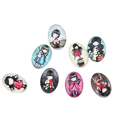 10pcs Mixed Color Lovely Girl Patterns Glass Oval Flatback Embellishments Lots J