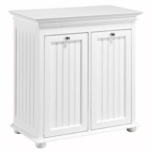 Image Is Loading Tilt Out Laundry Hamper Cabinet Storage White Wooden