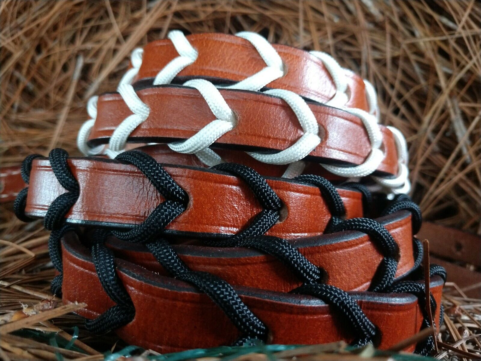 Paracord Laced Leather Barrel Racing Reins