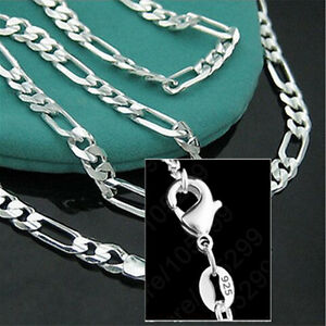 925-Sterling-Silver-Plated-16-30inch-2MM-Chain-Fashion-Men-Figaro-Necklace-Nice