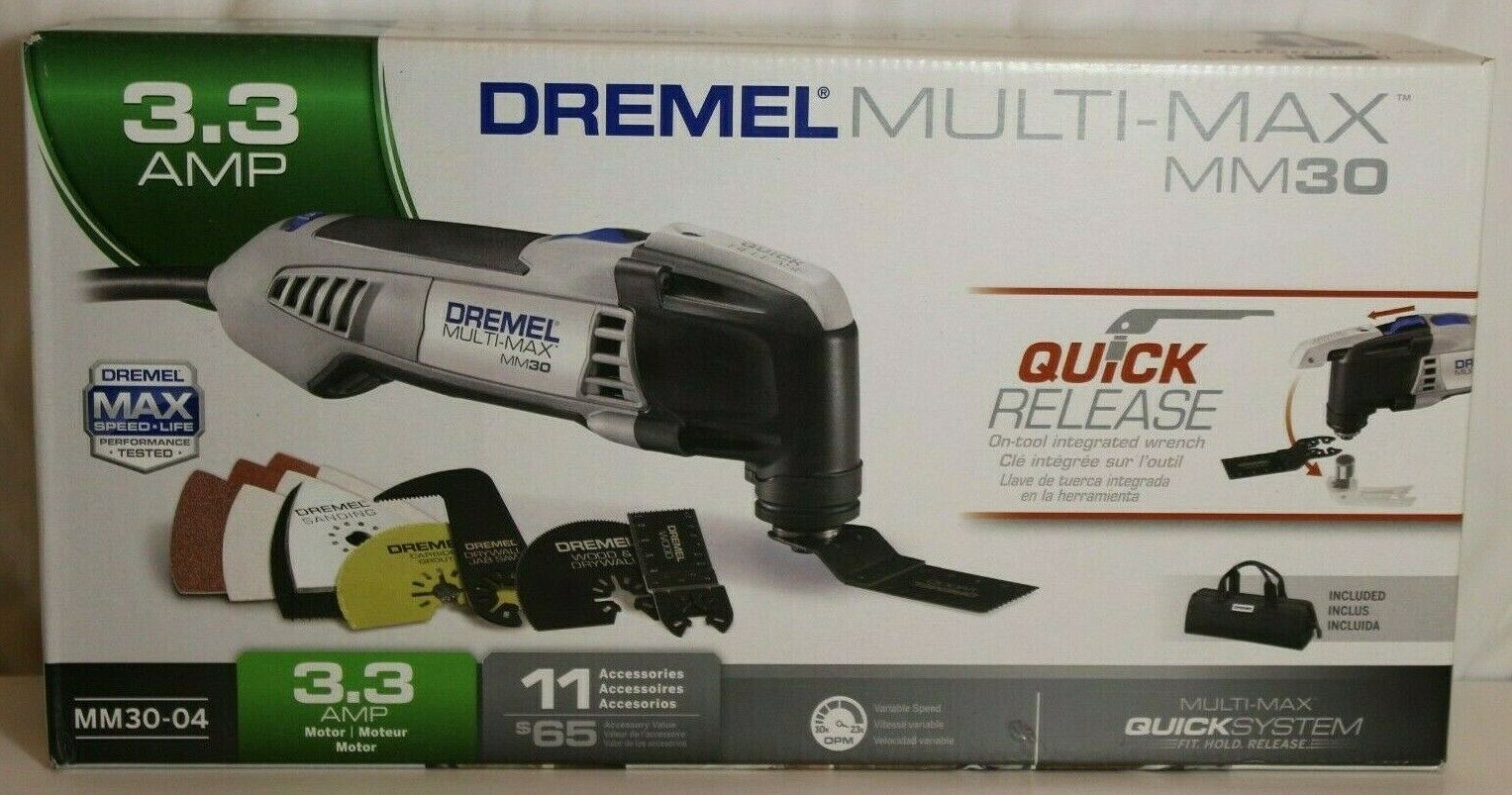 Dremel MM30-04 Multi-Max 3.3-Amp Oscillating Tool Kit with Quick-Release wrench