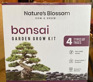 Nature's Blossom Bonsai Garden Seed Starter Kit - Easily Grow 4 Types, New