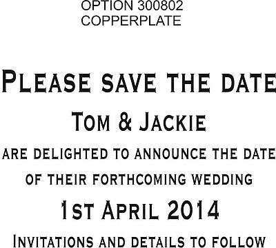 WEDDING STAMP PERSONALISED/BESPOKE SAVE THE DATE 85x55mm (11622) ASSTD FONTS