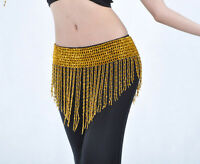 New Belly Dance Costume Hip Scarf Bead Elastic Belt Gold & Silver 2 colors