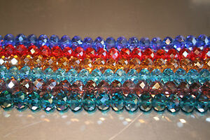 Faceted-Rondelle-Crystals-AB-Beads-Various-colours-and-sizes