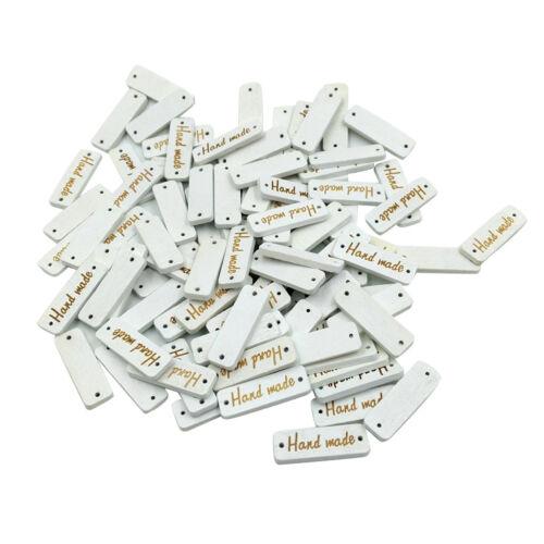 50pcs rectangle fait main en bois Boutons 2 Trous Tags Étiquette pour À faire soi-même Artisanat 30 mm