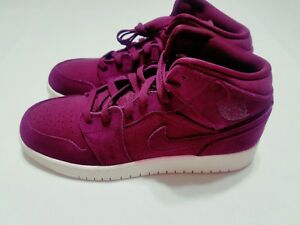 brand new d19ec 522df Details about NIKE AIR JORDAN RETRO 1 MID GS 6 YOUTH BORDEAUX SAIL BURGUNDY  RED 554725 625