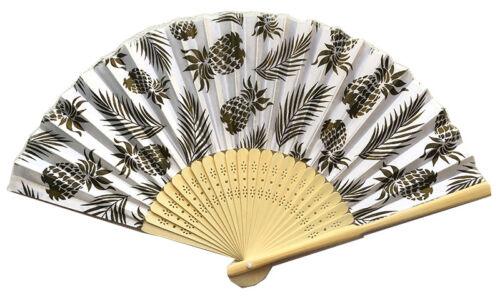 Hawaii Bamboo Hand Fan Pineapple Leaves Luau Party Favors Wedding Gifts NIB
