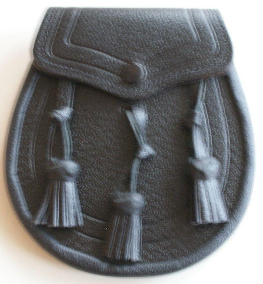Adulto Tradizionale black in pelle Sporran con Tre Twist Nappine