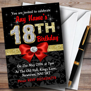 red black gold diamond 18th birthday party personalised invitations