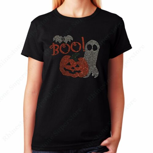 """Unisex Rhinestone T-shirt /"""" Pumpkin and Ghost with Boo for Halloween /"""" Women/'s"""
