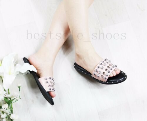 LADIES WOMENS SLIP ON STUDDED BLING SLIDES SLIPPERS SPARKLY SANDALS SHOES SIZE