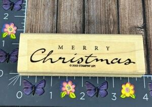 Stampin' Up! Merry Christmas Rubber Stamp 2003 Elegant Script Wood Mount #D39