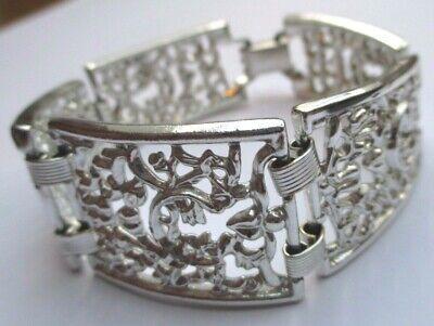 Large Bracelet Beau Bijou Vintage Rétro Couleur Argent Ajouré Feuillage 1918