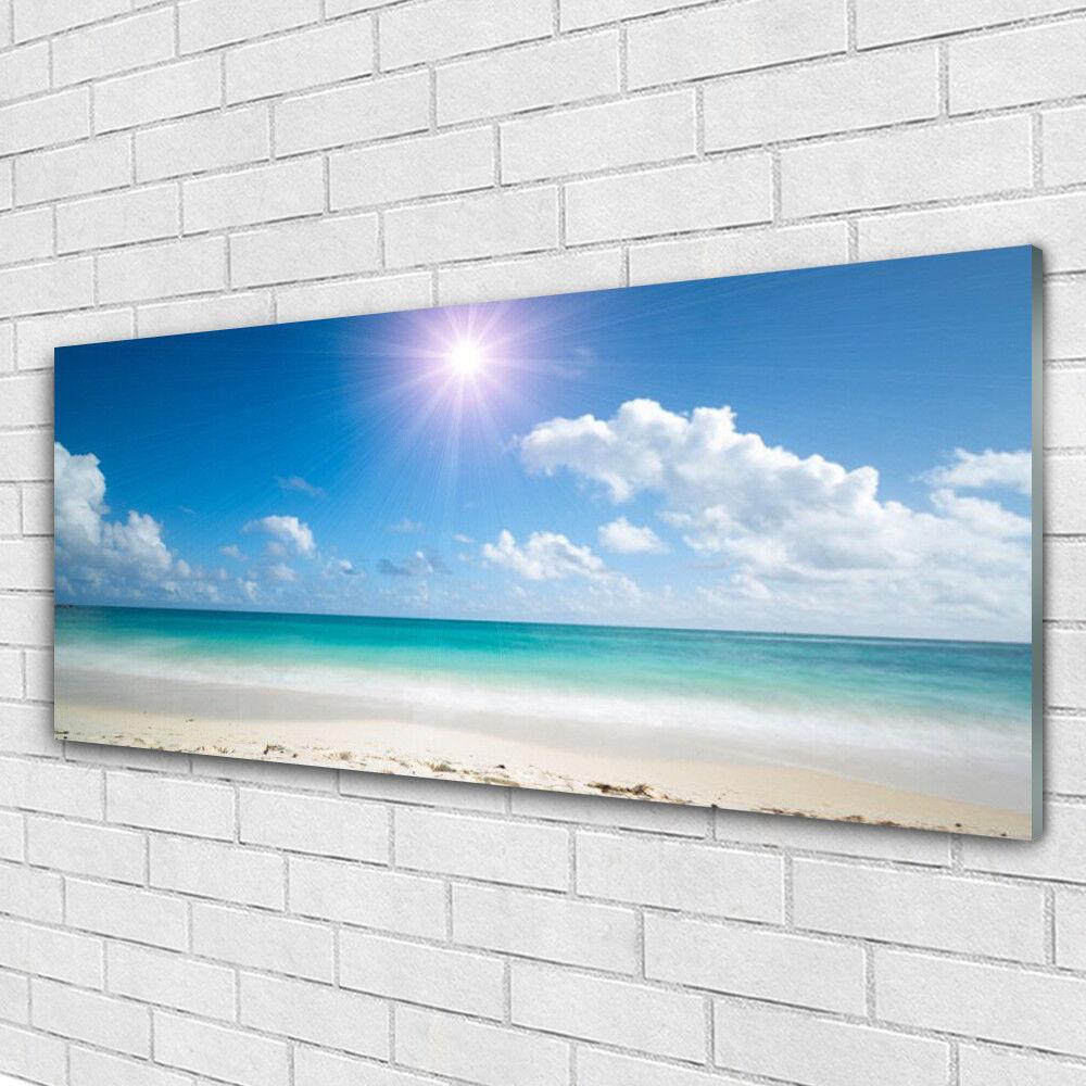 Glass print Wall art 125x50 Image Picture Sea Beach Sun Landscape
