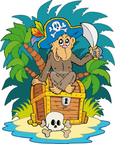 Sticker enfant Singe Pirate réf 909 ( Dimensions de 10 cm à 130cm de hauteur)