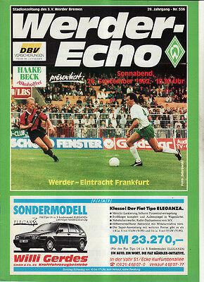 Bl 92/93 Sv Werder Bremen - Eintracht Frankfurt, 26.09.1992 Gute QualitäT