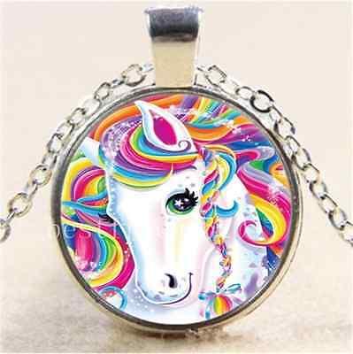 Rainbow Unicorn Photo Cabochon Glass Tibet Silver Chain Pendant Necklace