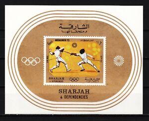 Fencing Abgebildet Modische Muster Sommer Olympiade S / Blatt Romantisch Sharjah Bl108 952 Mi Cat