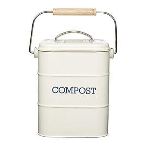nostalgia antique cream compost caddy metal kitchen. Black Bedroom Furniture Sets. Home Design Ideas
