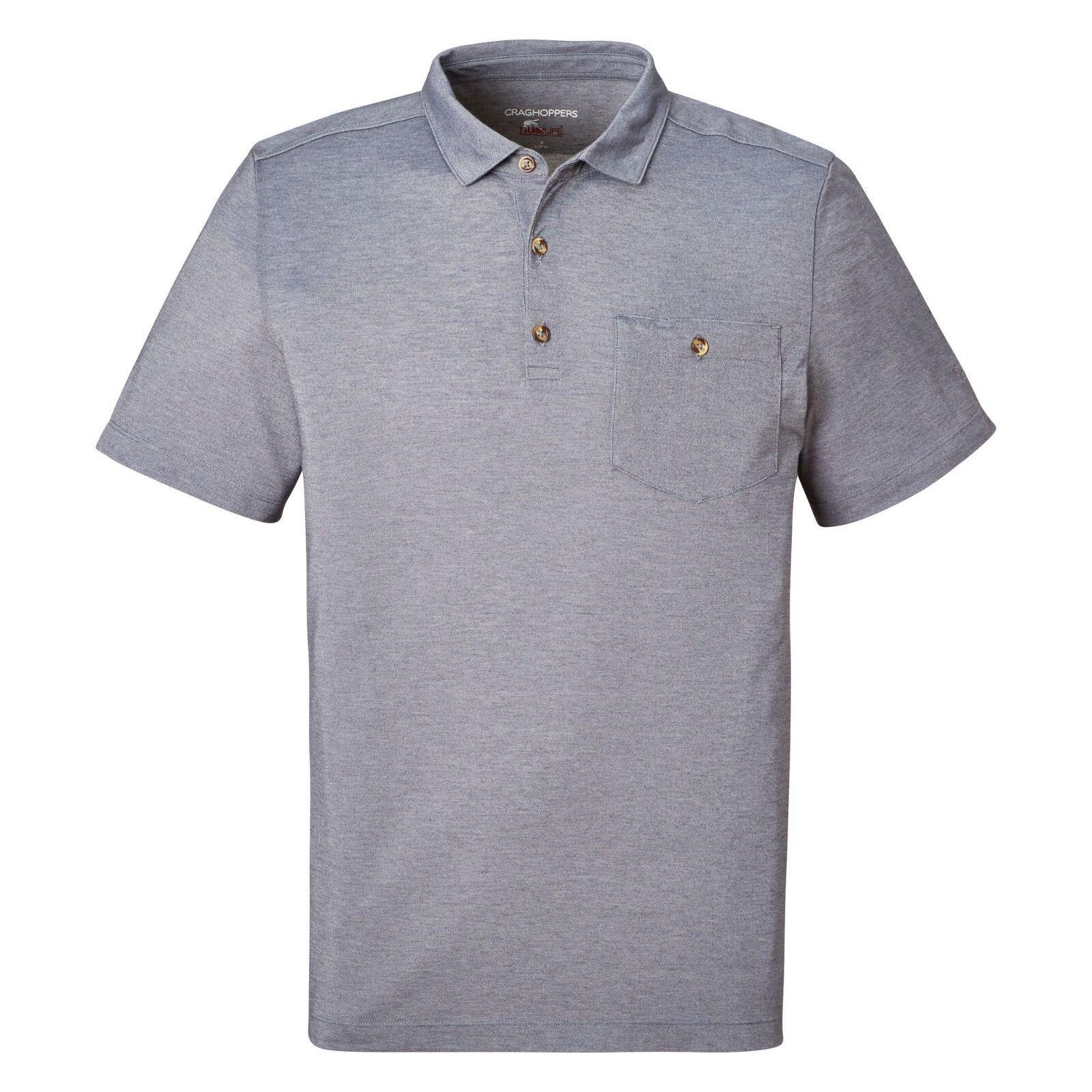 Craghoppers Men's NosiLife Gilles Short-Sleeved Polo - Ombre bluee Marl