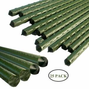 Sturdy Metal Garden Stakes 3 Ft Plastic Coated Steel Plant ...
