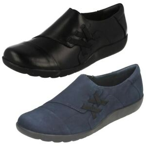 Image is loading Ladies-Clarks-Black-Navy-Leather-Casual-Shoes-Medora-