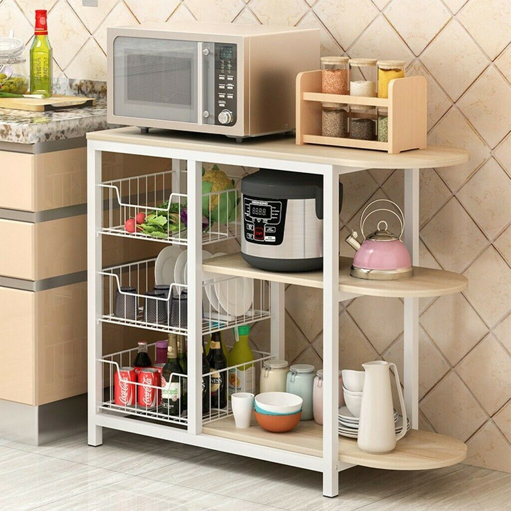 Details about NEW Kitchen Island Dining Cart Baker Cabinet Basket Storage  Shelves Organizer US