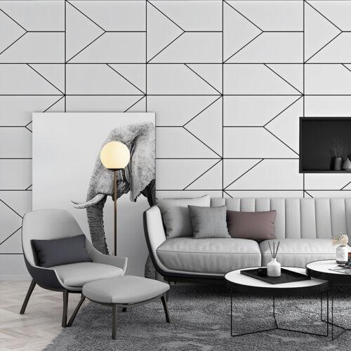 Black White Geometric Wallpaper Room Decor