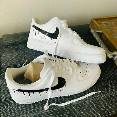White Nike Air Force 1 Custom Black Light Drip Ebay