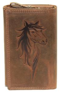Damen Geldbörse Pferd Naturleder Büffelleder Geldbeutel Kartenschutz RFID / NFC