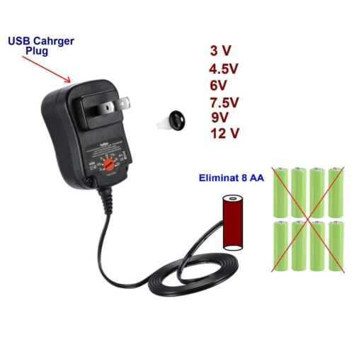 AA Battery Eliminator Power Adapter DC Charger with power supply,3,4.5,6,9,12